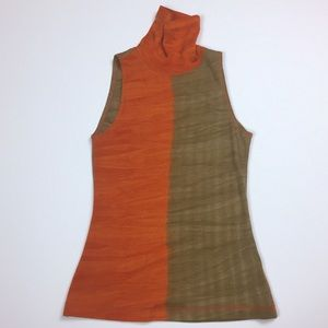 Worth | orange brown mock turtleneck 100% wool USA